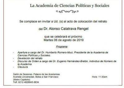 La Academia de Ciencias Políticas y Sociales se complace en invitar al Acto de Colocación del Retrato del Dr. Alonso Calatrava Rengel