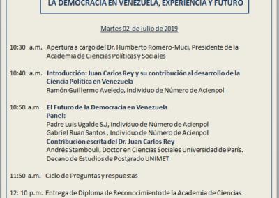Foro en homenaje al Dr. Juan Carlos Rey. la Democracia en Venezuela, Experiencia y Futuro