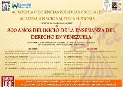 A los 300 Años del Inicio de la Enseñanza del Derecho en Venezuela