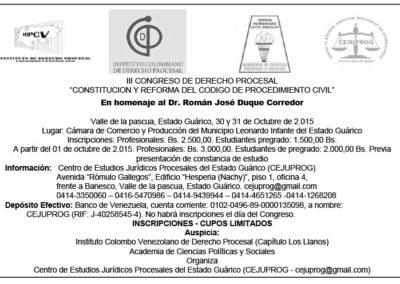 """III Congreso de Derecho Procesal """"Constitución Reforma del Código de Procedimiento Civil"""""""