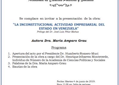"""Invitación al acto de presentación de la obra """"La Inconstitucional Actividad Empresarial del estado en Venezuela"""", Autora Dra. María Amparo Grau"""