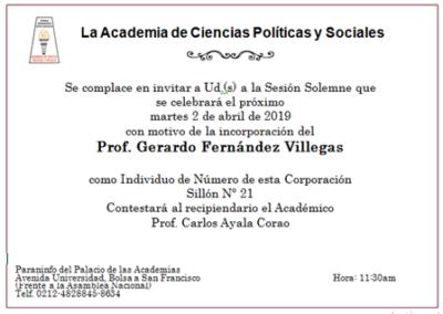 Acto de Incorporación del Prof. Gerardo Fernández Villegas