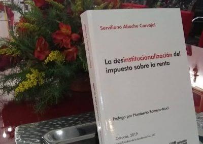 El 30 de octubre de 2019 se presentó la obra del Dr. Serviliano Abache Carvajal. La desinstitucionalización del impuesto sobre la renta.