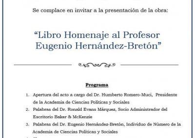 """El 03 de diciembre de 2019 se realizó la presentación de la obra: """"Libro Homenaje al Profesor Eugenio Hernández-Bretón"""""""