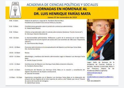 El 7 de noviembre de 2019 se realizaron las Jornadas en homenaje al Dr. Luis H. Farías Mata.