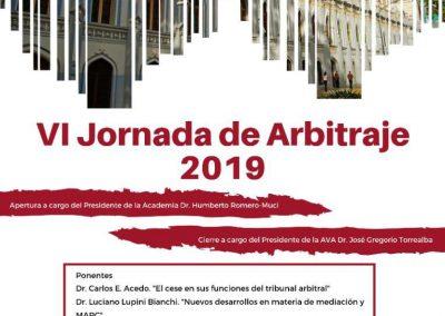 El 21 de noviembre de 2019 se realizará la VI Jornada de Arbitraje 2019.